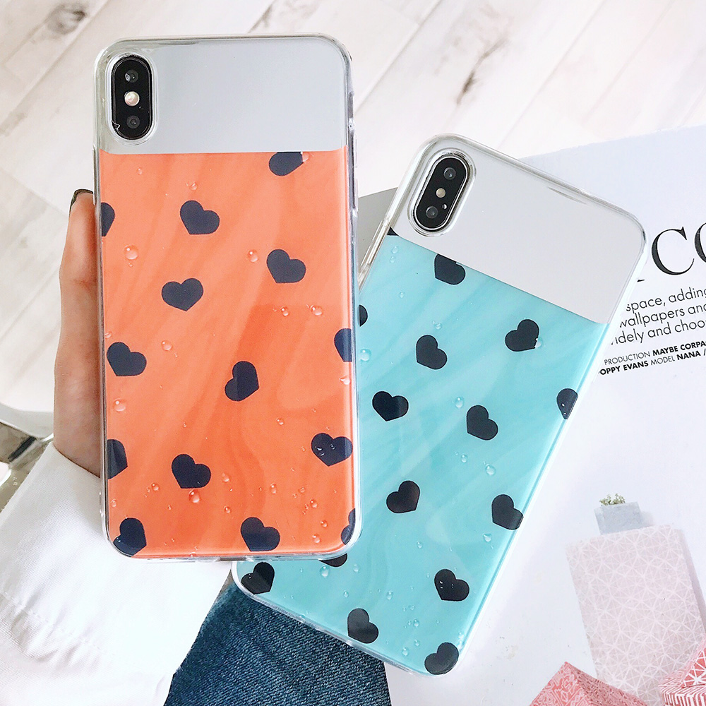 KIPX1126_1_JONSNOW Mirror Soft Case for iPhone 6S 7 8 Plus X XS XR XS Max Cover Cases Glossy Flower Heart Pattern Mirror Protector
