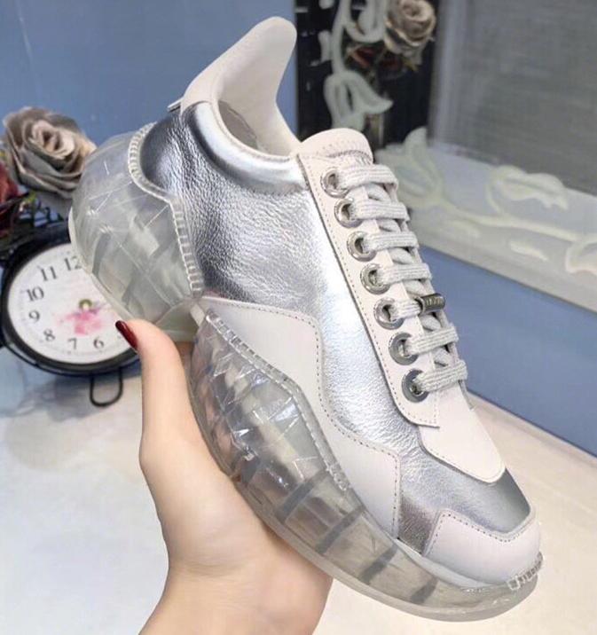 blanc Luxe Ultra Sneakers as Picture Décontractées Véritable Femmes Semelles Femme Compensées As Picture Chaussures Designer À De En Formateurs Piste Argent Cristaux Lacets Cuir dx7Udgq