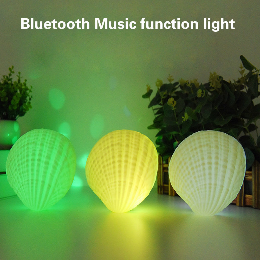 LED Music Night Light 7 Colors Shell Wireless Bluetooth Player Sound Speaker Valentine D ...