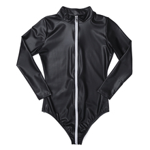 Lingerie Faux Leather Long Sleeves Zippered Bodysuit