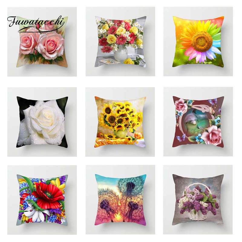 Fuwatacchi Floral Series Cushion Cover Sunflower Rose Dandelion Flower Decorative Pillows Home Sofa  Decoration