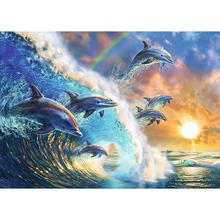 Pełny obraz diamentowy 5D #8222 niebo rodziny delfinów #8221 diamentowy obraz z kryształków diamentowy haft dekoracja ścienna dla zwierząt tanie tanio LZAIQIZG Obrazy PAPER BAG Pojedyncze Żywica Pełna Zwinięte 30-45 Okrągły Europejski i amerykański styl