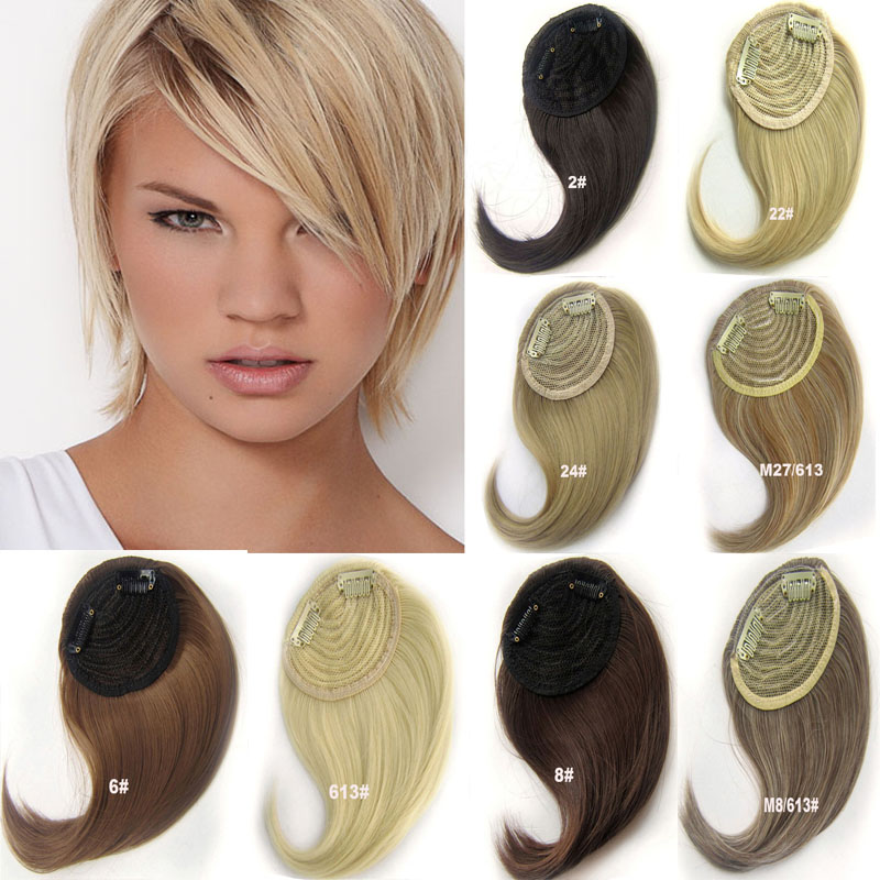Remarkable 2Pcs Lot 30G Synthetic Clip In Hair Bangs Front Side Fringe Hair Hairstyles For Men Maxibearus