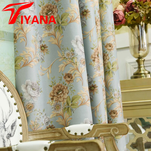 cheap kitchen curtains island plans european retro flower design shade for living room sheer tulle beautiful door cortinas hp002 20
