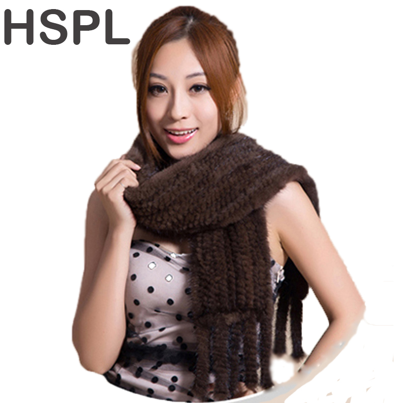 HSPL Hot sale Real Mink Fur Scarf Women Knitted Natural Mink Fur Scarves Black and Brown color scarf available cx c 128c hot sale fashion women mink fur wholesale woman mink fur women hat drop shipping