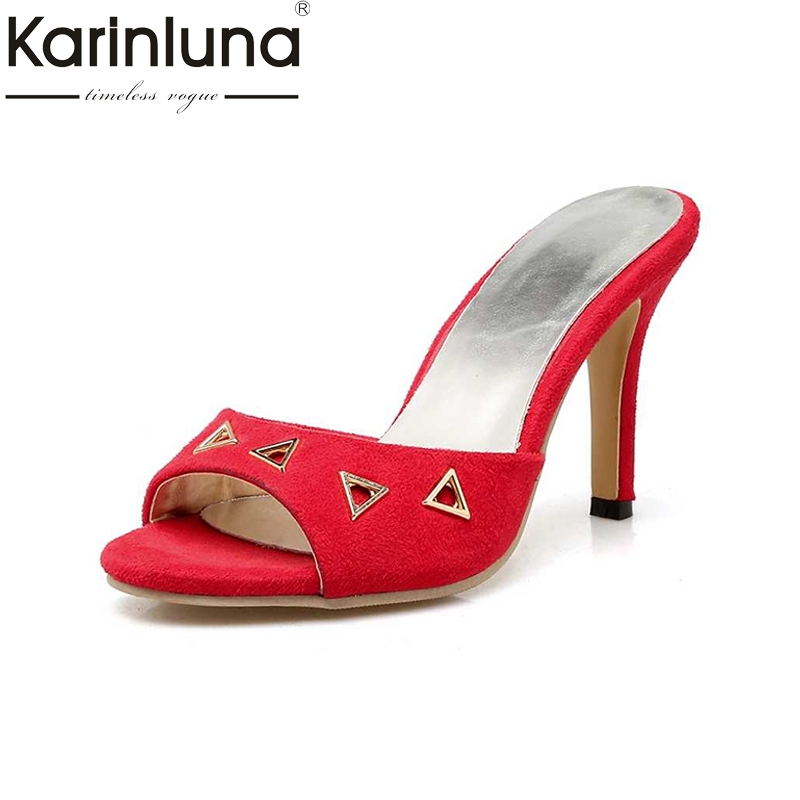 KARINLUNA Big Size 34-43 Women Thin High Heel Sandals Cutout Flock Upper Open Toe Platform Summer Shoes 2017 bonjomarisa 2017 fashion summer sandles big size 32 43 cutout open toe thick heel less platform women shoes ladies footwear