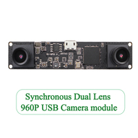 ELP Synchronization 3D USB Camera . MJPEG 60fps 1.3MP OV9750 UVC Mini Webcam Dual Lens For Raspberry pi,Linux,Windows