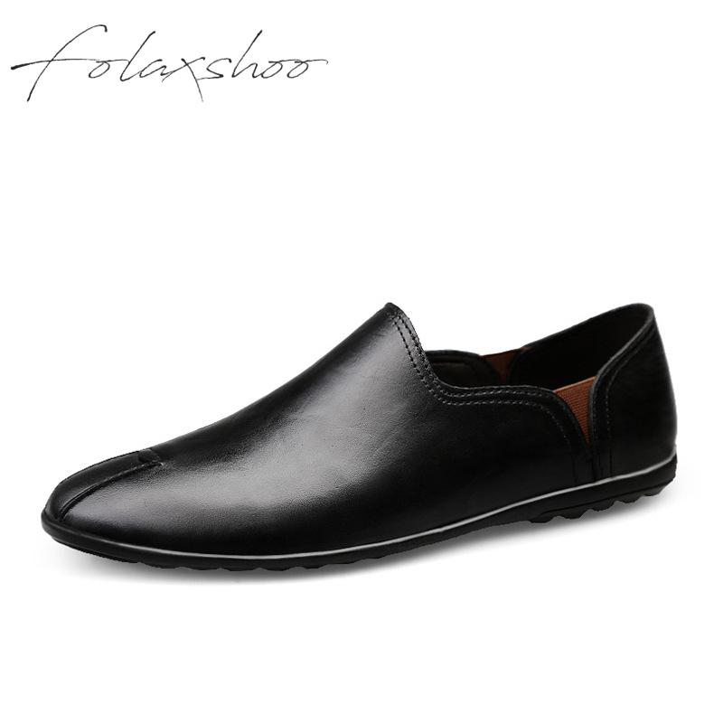 Folaxshoo Spring Men Flats Shoes Male Genuine Leather Shoes Man Cutout Loafers Slip On Breathable Walking Driving Footwear gram epos 2018 male spring summer trend casual leisure pu leather shoes breathable for man footwear loafers men s slip on flats