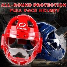 Для взрослых детей каратэ шлем фитнес тхэквондо боксерский шлем WTF защита головы защитные головные уборы с маска для лица полная Защита Поддержка