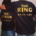 H1063 2016 Latest Valentine's Day Couple Clothes Short Sleeve Black King Queen Print T Shirt Summer Fashion T-shirt In Stock