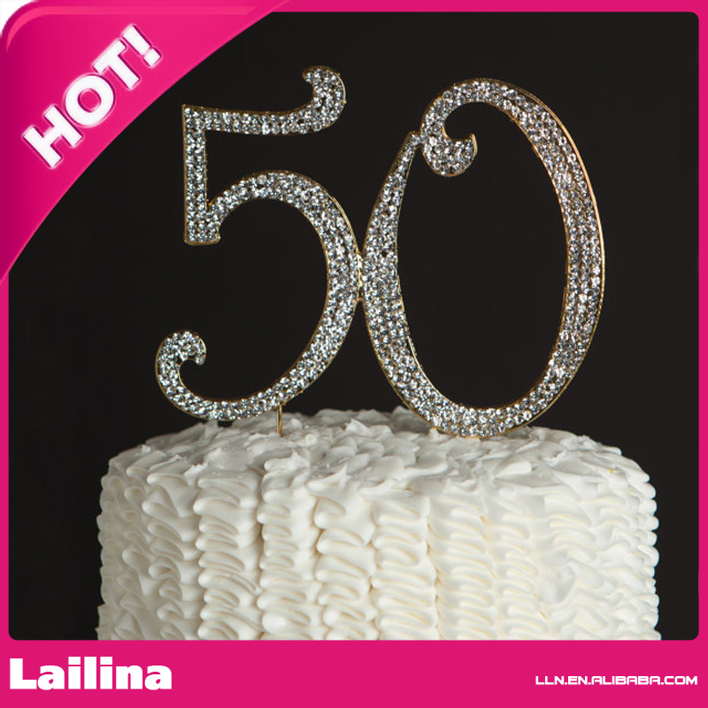 Number 50th 40th 30th Rhinestone Cake Topper 50th Birthday Vow