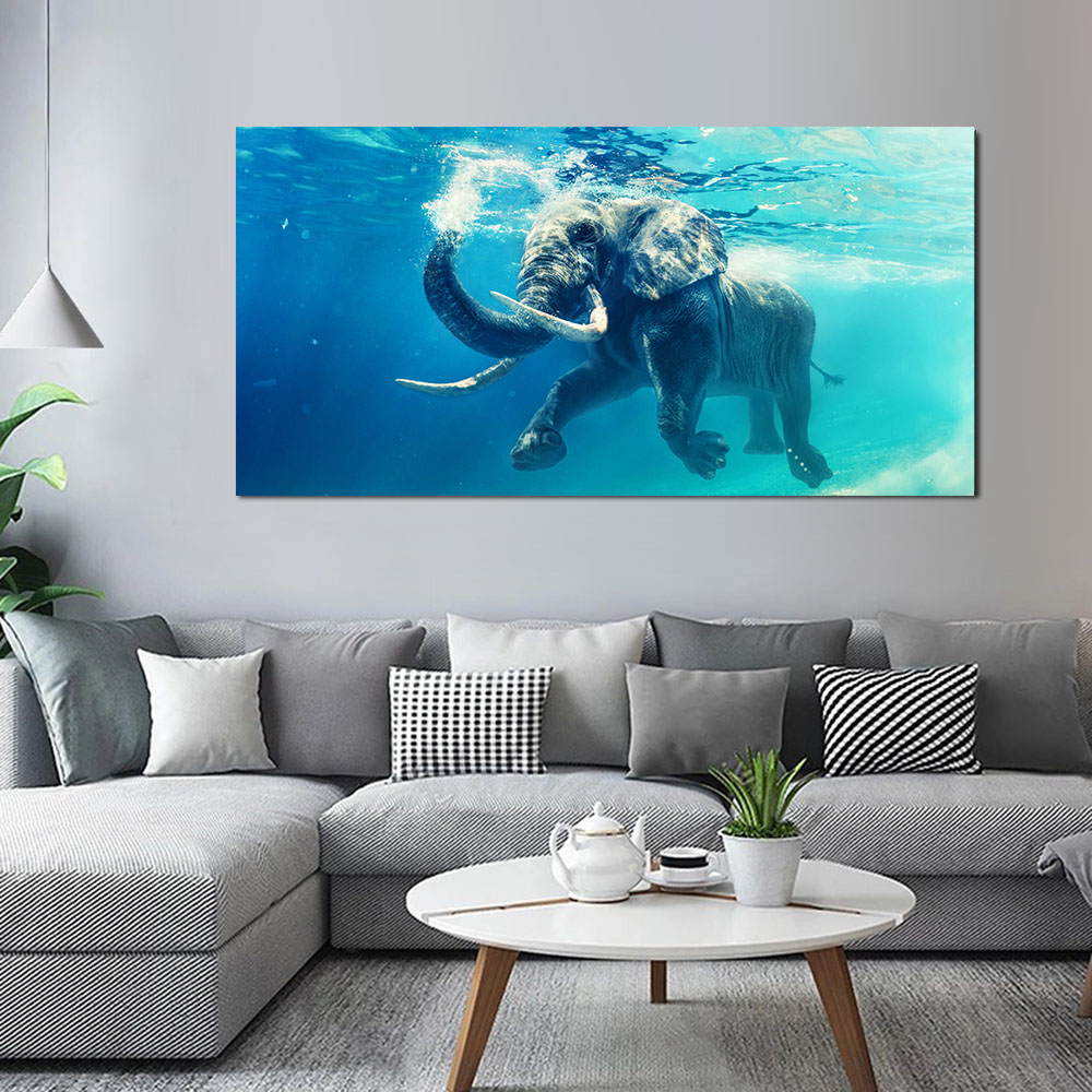 Elephant In Water Wall Artwork Portray Seascape Images Print Canvas Portray Panorama Ornamental Photos For Dwelling Room