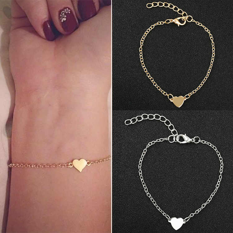 Hot Sale Charming Heart Bracelets&Bangles For Women Girls Gold Silver Color Metal Bracelets Statement Jewelry Wholesale