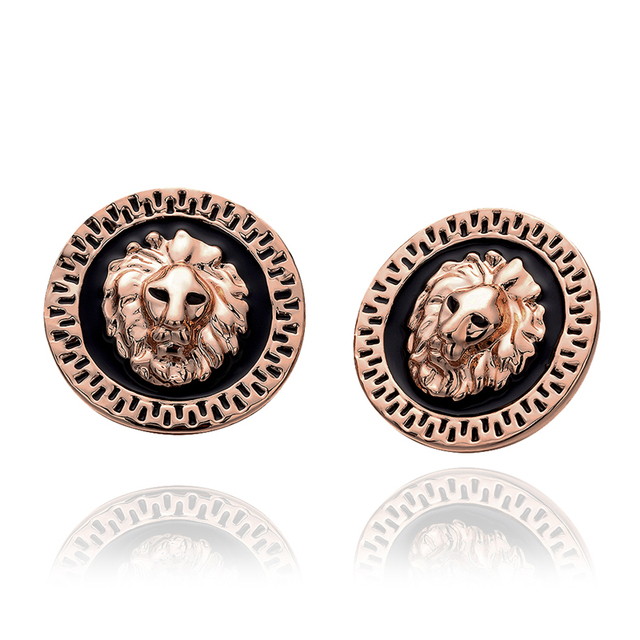 Size 25x25mm Stud Earrings Gold Silver Rose Lion Head For Women Black