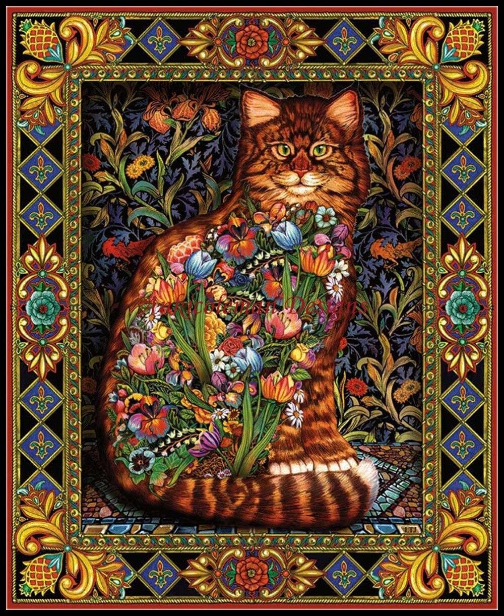 Рукоделие для вышивка DIY Французский DMC высокое качество-счетный крест Наборы 14 CT картина маслом-Гобелены Cat