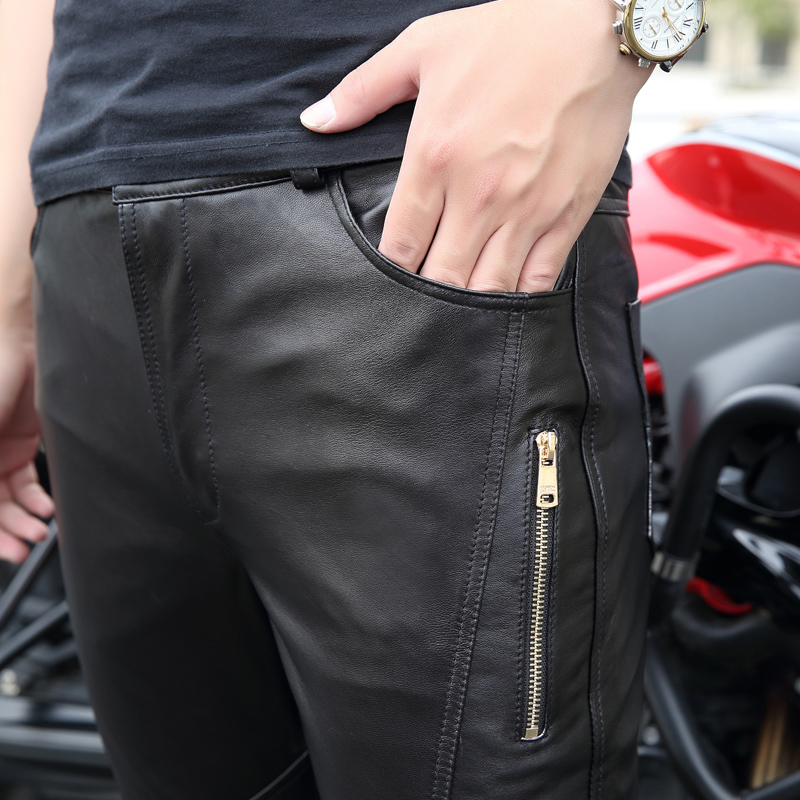 Высококачественные Новые Мужские штаны из натуральной кожи мужские облегающие локомотивные брюки Корейский мужской мото натуральная овчина карандаш брюки 30 36 - 5