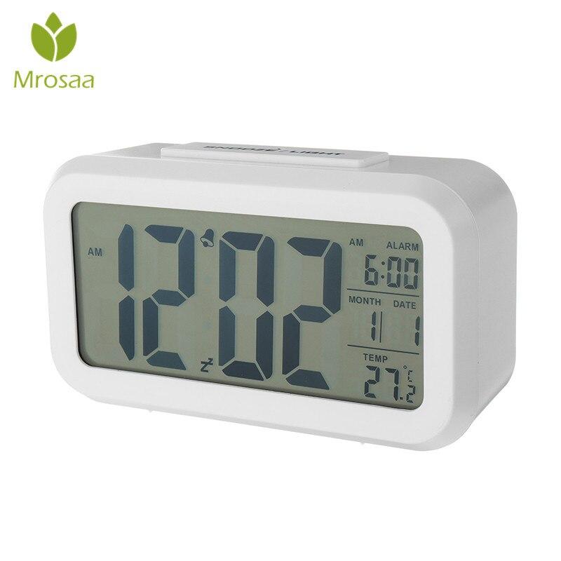0dbde873f849 Mrosaa reloj despertador Digital estudiante pantalla LCD de gran tamaño de  mesa de oficina número reloj repetición de temperatura fecha electrónicos  ...