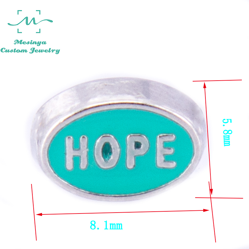 10pcs Truquoise Color Oval shape Hope floating charms for glass locket,FC-921.Min amount $15 per order mixed items