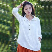 2015 Summer Style White Long Sleeve Women Linen Blouses Loose Plus Size Linen Shirt Brand Mori
