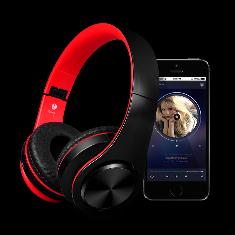 2017 New Bluetooth Headset Rechargeable Wireless stereo Headphone Gaming Gamer Music Headsets Support TF Card for Phone PC
