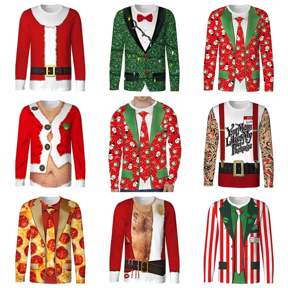 2018 Autumn Funny Cosplay Merry Christmas Santa Claus Prints Fitness Workout Long Sleeve Man T shirt Women Men T Shirt Tops Tees