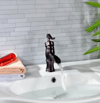 Oil Rubbed Bronze Waterfall Style Single Handle Bathroom Vessel Sink Faucet Mixer Taps apt004