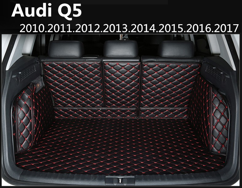 Auto Cargo Liner Car Trunk Mats For Audi Q5 2010-2017 Surrounded by all Carpets High Quality Embroidery Leather Mats car rear trunk security shield cargo cover for volkswagen vw tiguan 2016 2017 2018 high qualit black beige auto accessories