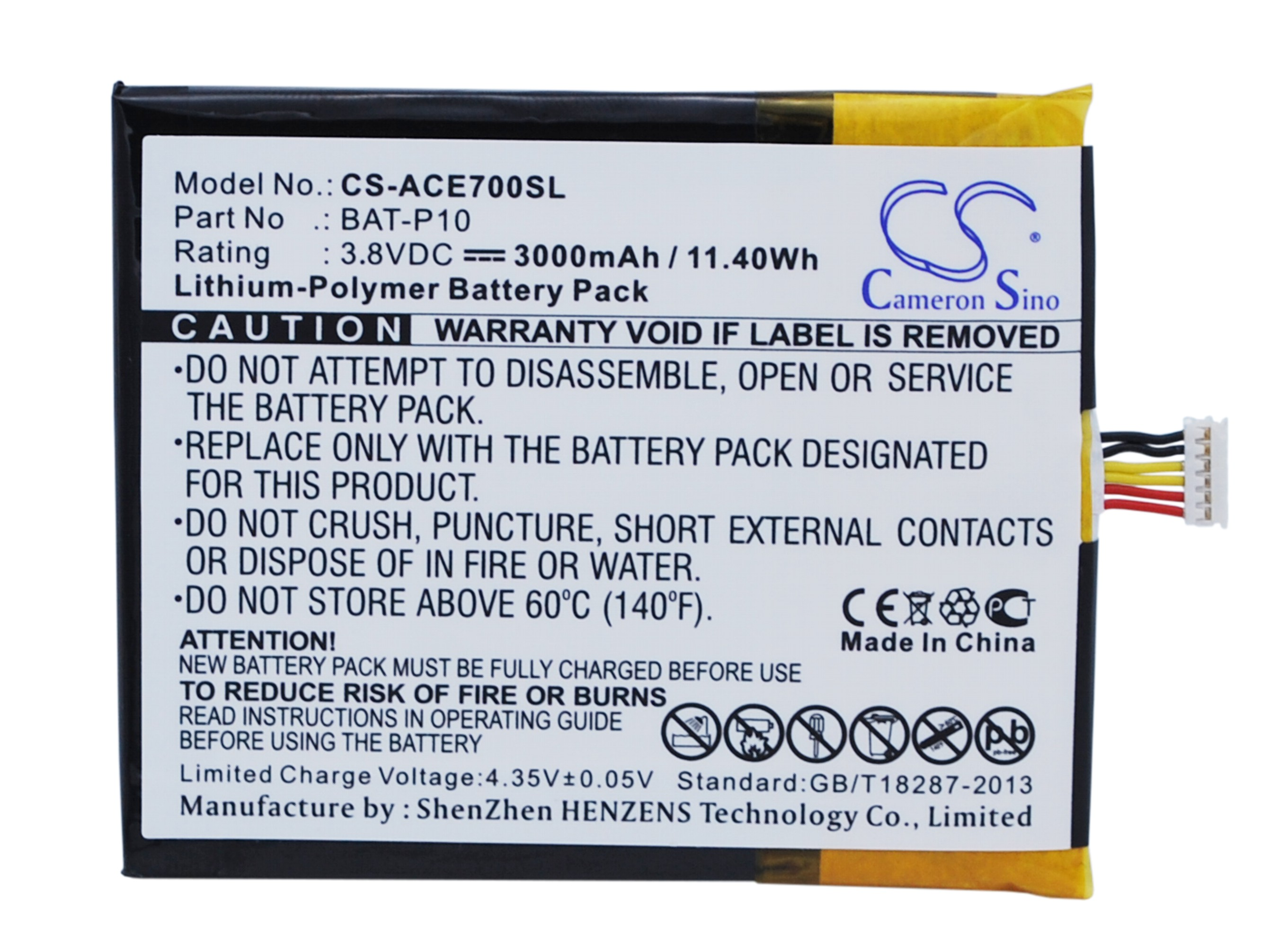 Upgrade High Quality Battery BAT-P10 for <font><b>Acer</b></font> <font><b>E39</b></font>, Liquid <font><b>E700</b></font>, Liquid <font><b>E700</b></font> Triple image
