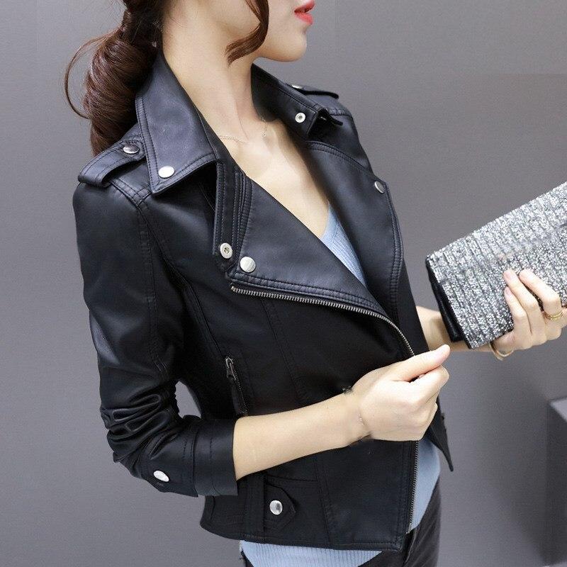 Fashion Women Long Sleeve Casual Jackets Zippers Motorcycle Faux Soft   Leather   Jacket Rivet Zipper Lapel Pu Jacket Coat