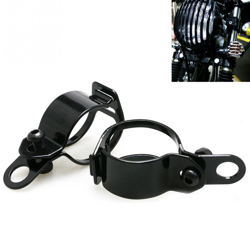 1pair Universal Metal Motorcycle Modified Turn Signal Light Indicator Mount Bracket Clamp For 30-43mm Front Fork Diameter