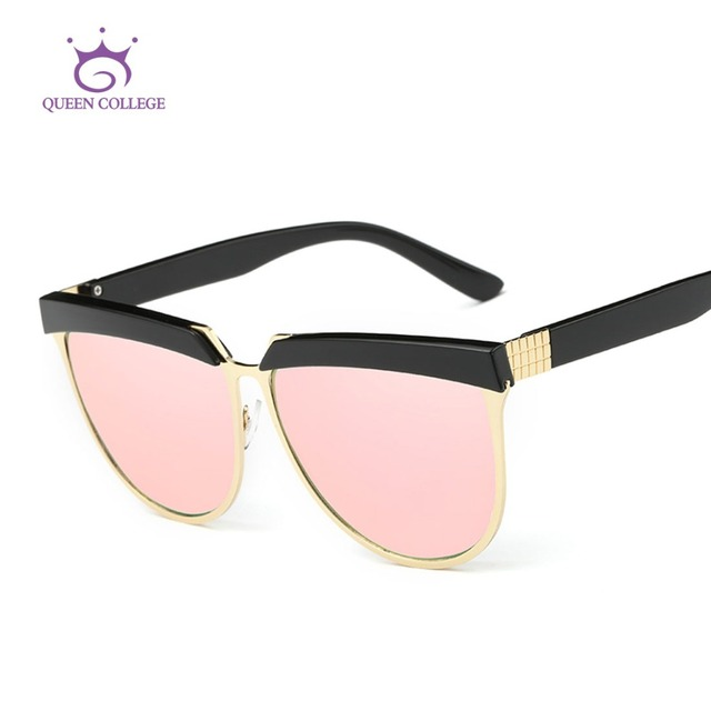 Rainha Da Faculdade Óculos De Sol Das Mulheres de Verão Estilo de Design Da Marca de Luxo Espelho Eyewear Frame Colorido Óculos de Sol Com Caixa UV400 QC0401