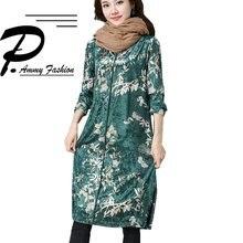 408980374a5 Бархат джемпер Laddies женские осенние Винтаж с цветочным принтом  негабаритных одежда с длинным рукавом платье-