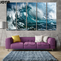 Large Wall Art Great Wave Canvas Print Sea Storm Night Seascape Decorative Wall Painting Pictures Home