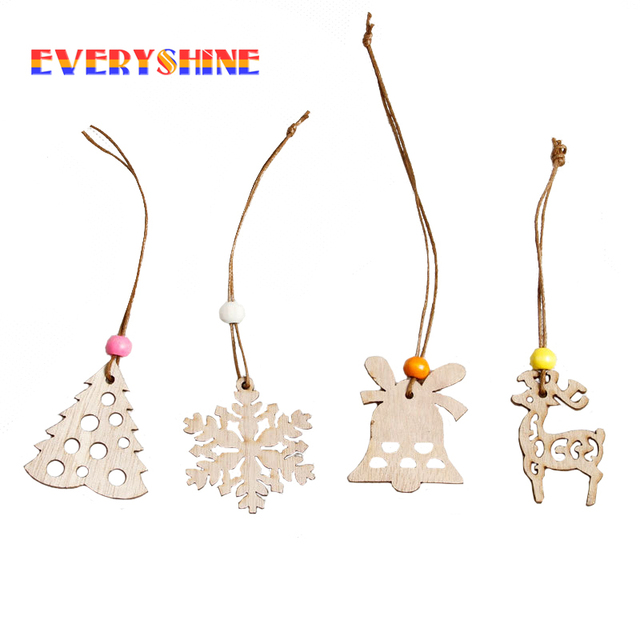 12pcs/lot Wooden Snowflake Christmas Tree Garland Wood Christmas Ornament Christmas Decorations For Home Xmas Party Favors SD396