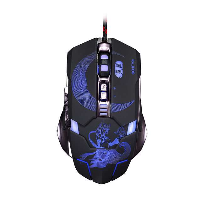 RAJFOO Mute Gaming Mouse 3200DPI with 4 Level Adjustment 3 Color Breathing Backlight 7 Key Smart Macro Definition Gamer Mause