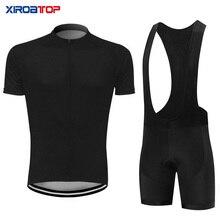 Preto conjunto camisa de ciclismo verão bib shorts roupas da bicicleta roupas mtb jérsei bicicleta conjuntos ciclismo