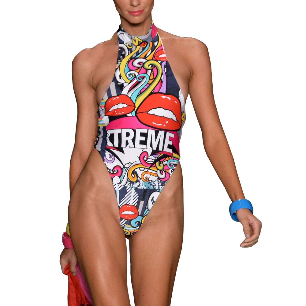 Wade Sea 3D Swimwear Women Red Lips Print Swimsuit Sexy High Neck Monokini One Piece Swimsuit Thong Bathing Suit Beachwear sexy plunging neck sleeveless black one piece swimsuit for women