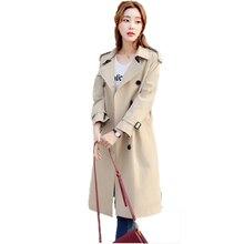2018 Nouvelles Dames Printemps Coupe-Vent Long Revers Tempérament Longue  Ceinture Tranchée Manteau Coréen Occasionnel fd96266572f