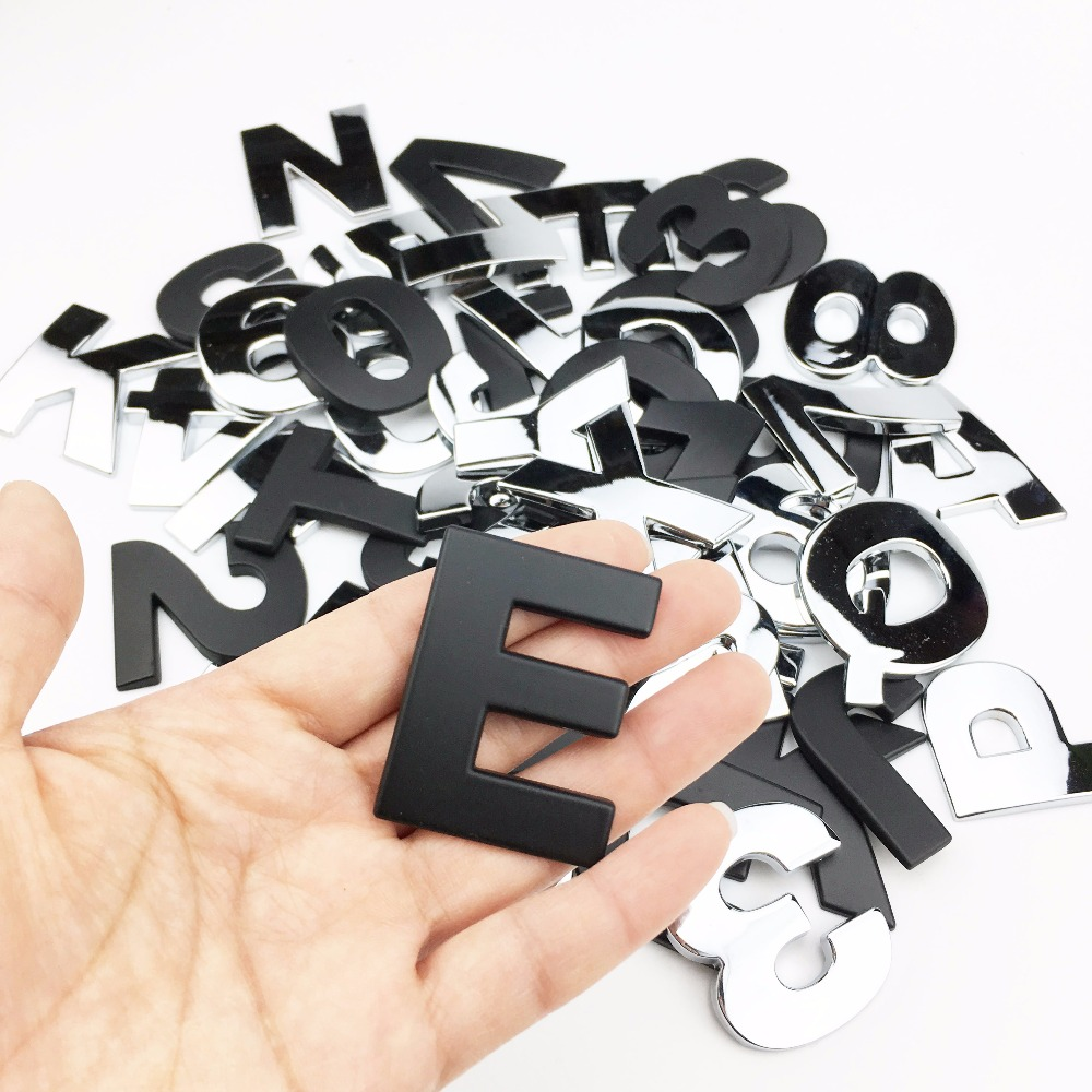 Car Styling 3D Metal personality Letters Emblem A-N Chrome DIY Car Sticker Badge Automobiles Logo Accessories Motorcycle sticker dsycar 3d metal sport car sticker emblem badge for for universal cars motorcycle car styling decorative accessories chevrolet ds
