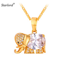 Crystal Fine Jewelry Cubic Zircon Necklace Women Fashion Jewelry 18K Gold Plated Vintage Elephant Gold Necklaces