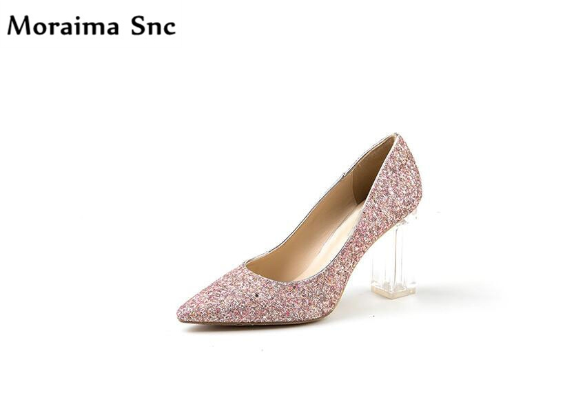 Moraima Snc hot selling 2018 pointed toe square heels concise type sexy catwalk high heel bling slip-on party Dress pumps sexy bling bling glitter high heel pumps women pointed toe metal heels party dress shoes slip on office lady dress shoes