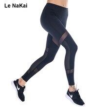 Le NaKai Nuevo Panel De Malla Legging Yoga Aptitud de Las Mujeres de Malla Transpirable Gimnasio Medias Pretina Ancha de Entrenamiento Deportivo Pantalones de Compresión