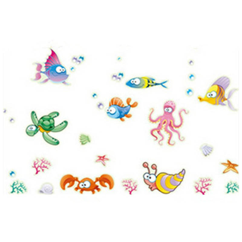 Cartoon Luminous Stickers Seabed World Nemo Fish Dolphin Fluorescent Decals Kids Room Bathroom Wall Tile Decoration
