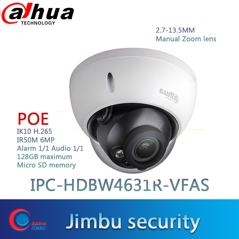 Dahua 6MP CCTV camera IPC-HDBW4631R-VFAS POE 2.7-13.5mm Manual zoom lens IK10 IR50m POE CCTV IP camera SD card slot Max128GB