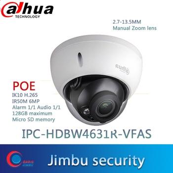 Dahua 6MP CCTV camera IPC-HDBW4631R-VFAS POE 2.7-13.5mm Manual zoom lens IK10 IR50m POE CCTV IP camera SD card slot Max128GB
