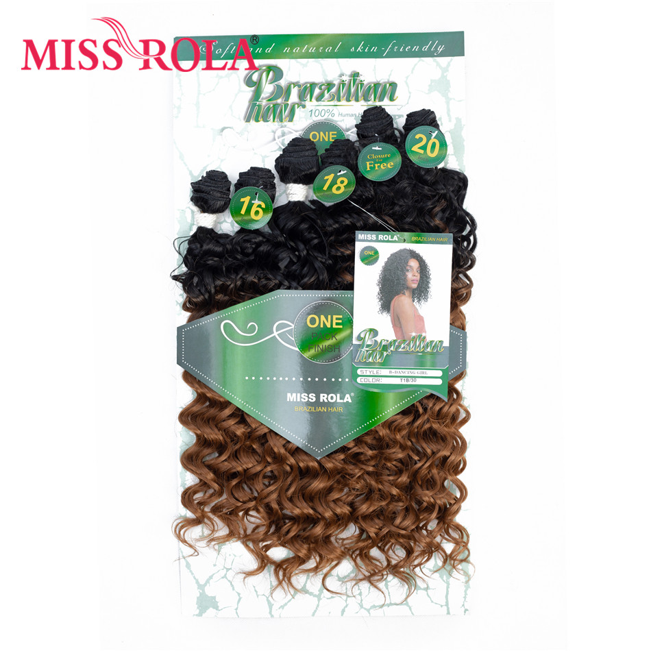 Miss Rola Synthetic Curly Hair Extensions Ombre Colored Hair Weaving Bundles 16-20inch 6pcs/Pack 200g T1B/30 With Free Closure