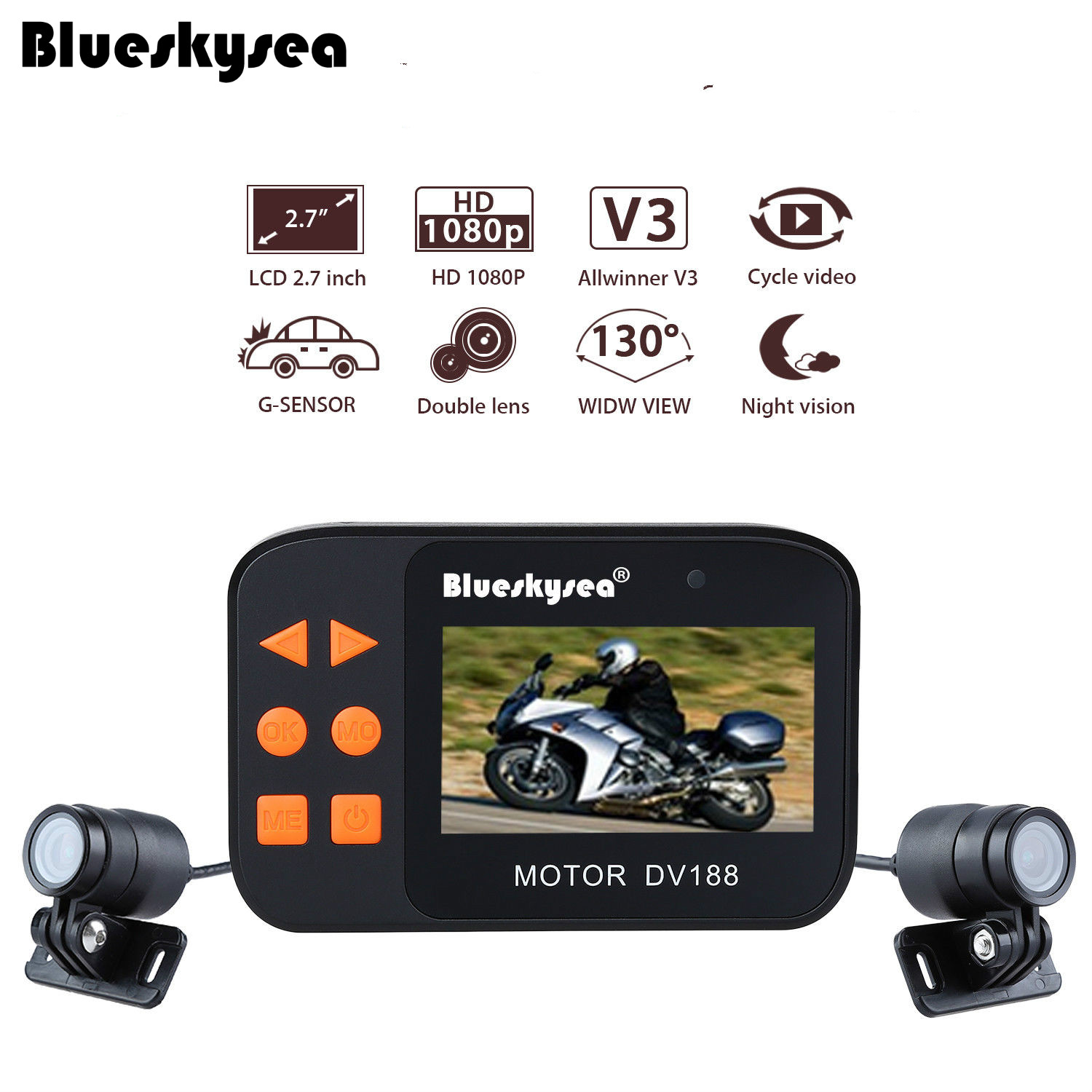 Blueskysea DV188 Action Sports Camera Video DVR Bike Motorcycle Car Vehicle Cam 1080P Waterproof Dual Lens Dashcamera Camcorder