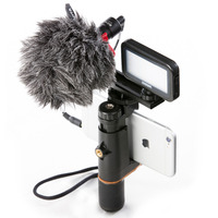 Phone Tripod Mount Handle Grip With Hot Shoe Compatible With Led Camera Light Microphone For Youtube