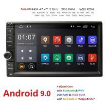 """Hizpo Quad Core 7 """"2 Din Android 9.0 Car NO-DVD Radio Multimedia Player 1024*600 di Navigazione GPS Universale autoradio Audio Stereo"""