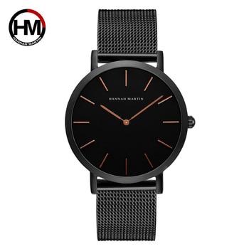 Hannah Martin Quartz Wrist Watches For Men Casual Waterproof Men Watch Stainless Steel Luxury Watch Men Black Kol Saati